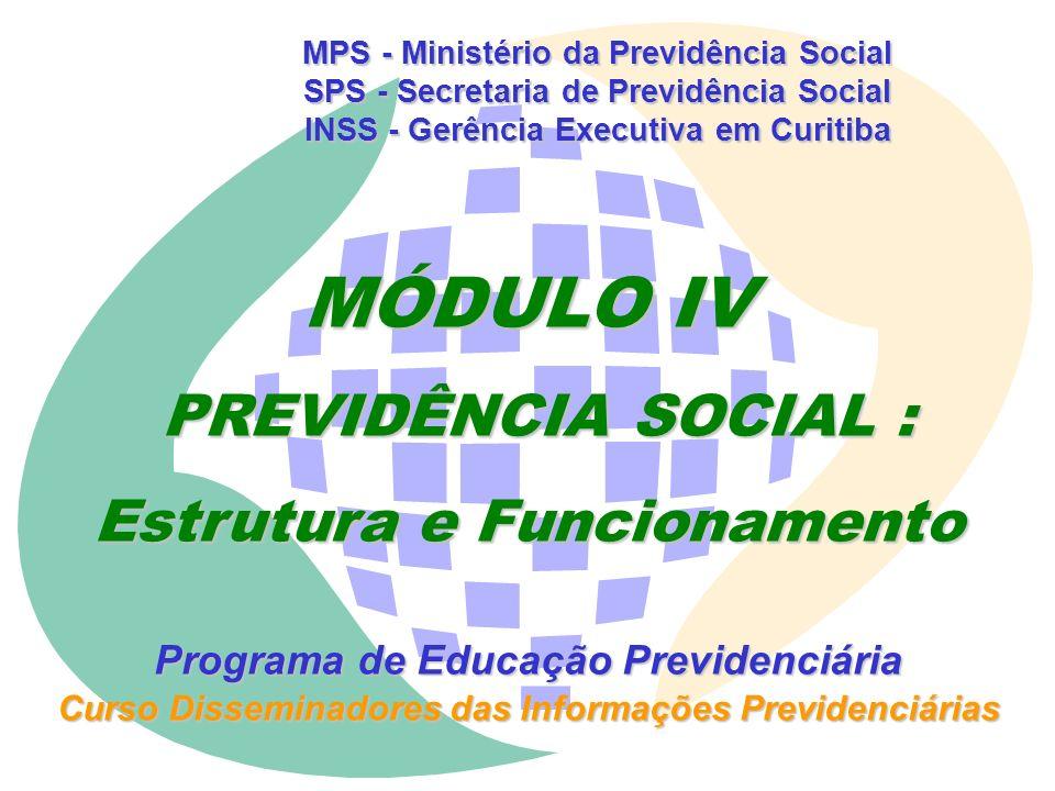 MPS - Ministério da Previdência Social SPS - Secretaria de Previdência Social INSS - Gerência Executiva em Curitiba MÓDULO IV PREVIDÊNCIA SOCIAL : PREVIDÊNCIA SOCIAL : Estrutura e Funcionamento Programa de Educação Previdenciária Curso Disseminadores das Informações Previdenciárias