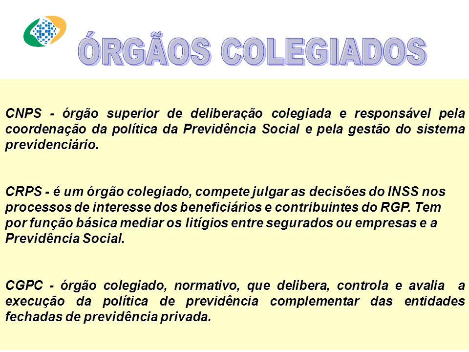 CNPS - órgão superior de deliberação colegiada e responsável pela coordenação da política da Previdência Social e pela gestão do sistema previdenciário.