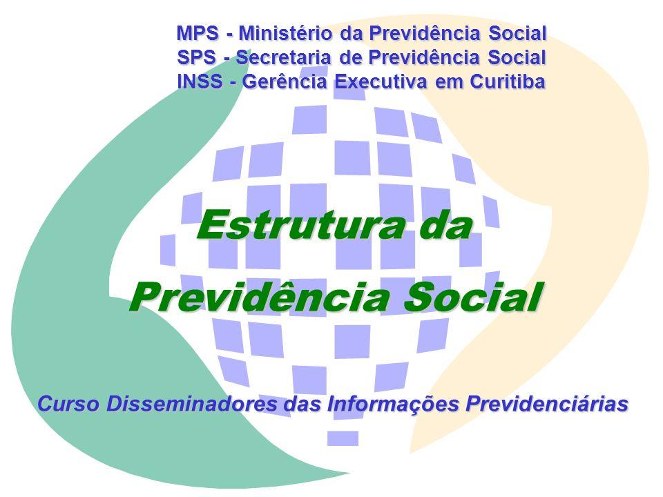 MPS - Ministério da Previdência Social SPS - Secretaria de Previdência Social INSS - Gerência Executiva em Curitiba Estrutura da Previdência Social Curso Disseminadores das Informações Previdenciárias
