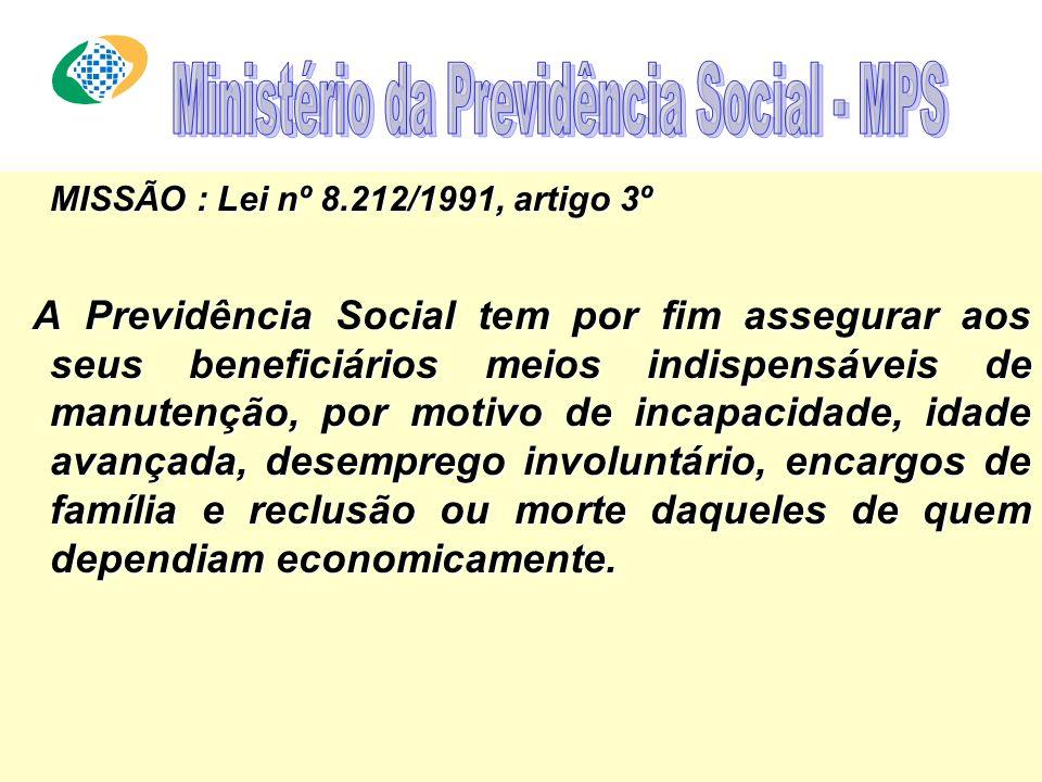 MISSÃO : Lei nº 8.212/1991, artigo 3º A Previdência Social tem por fim assegurar aos seus beneficiários meios indispensáveis de manutenção, por motivo de incapacidade, idade avançada, desemprego involuntário, encargos de família e reclusão ou morte daqueles de quem dependiam economicamente.