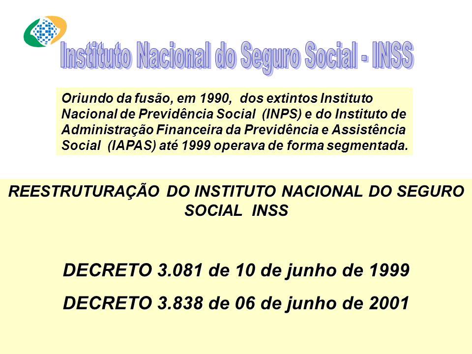 Oriundo da fusão, em 1990, dos extintos Instituto Nacional de Previdência Social (INPS) e do Instituto de Administração Financeira da Previdência e Assistência Social (IAPAS) até 1999 operava de forma segmentada.