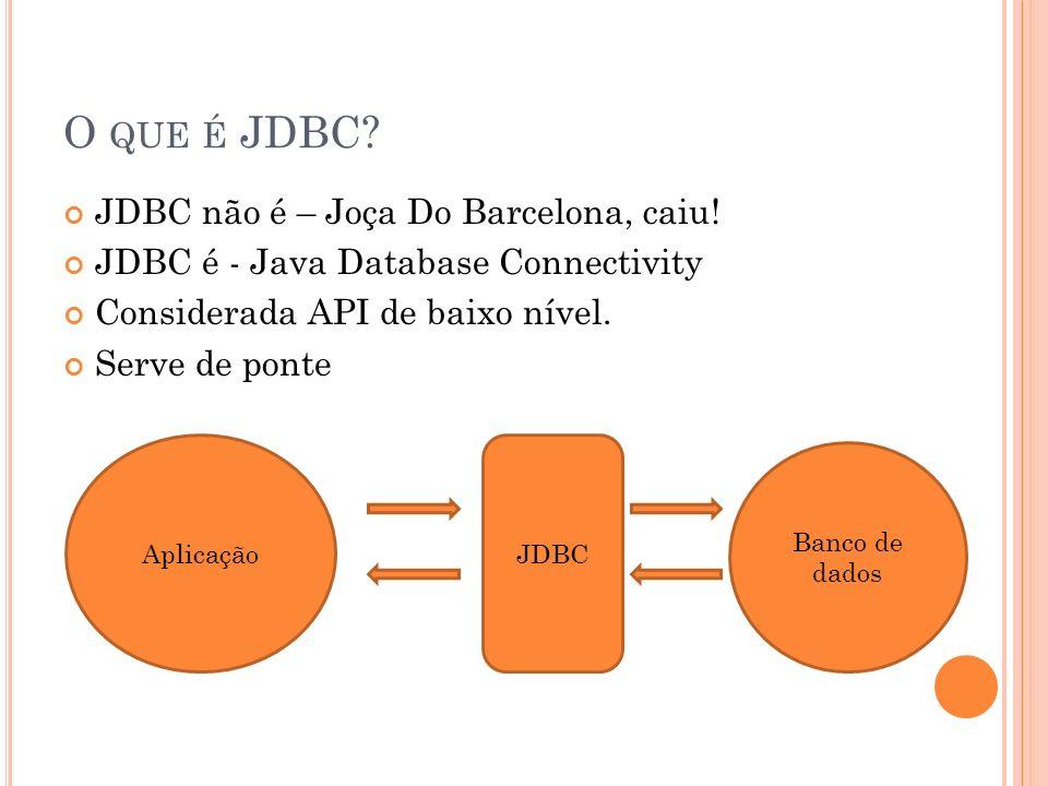 F ACILIDADES DO JDBC Drivers ResultStatement Migrar de Banco de dados* Fácil configuração: URL, Rede, Instalação