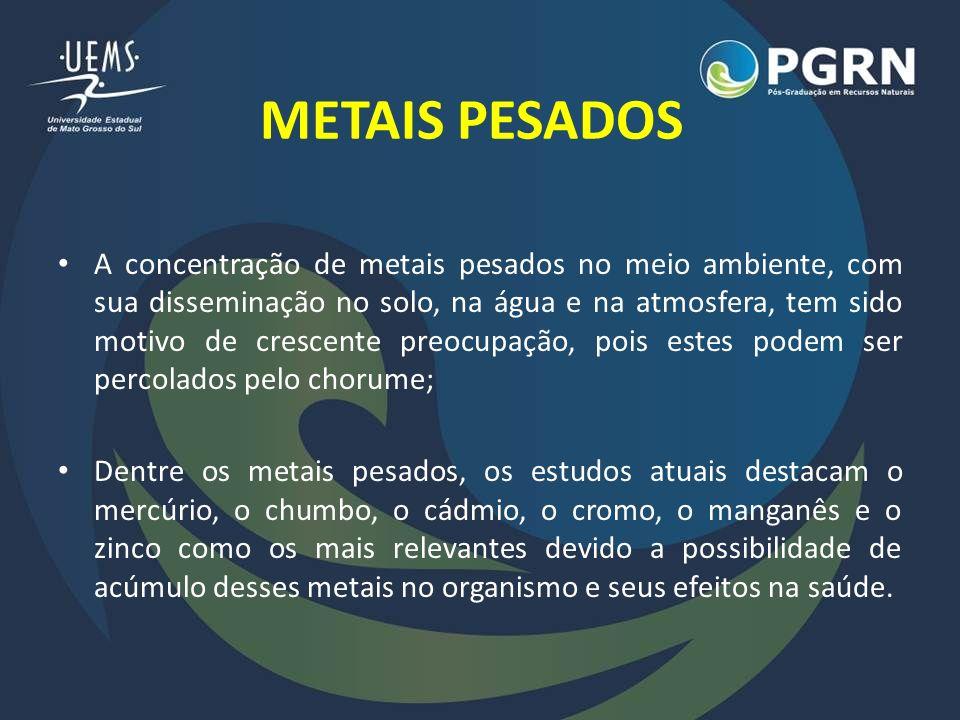 METAIS PESADOS Chumbo (Pb): – Quando em altas concentrações, os primeiros efeitos adversos são vistos no sistema nervoso central e, ocasionalmente, na medula óssea.