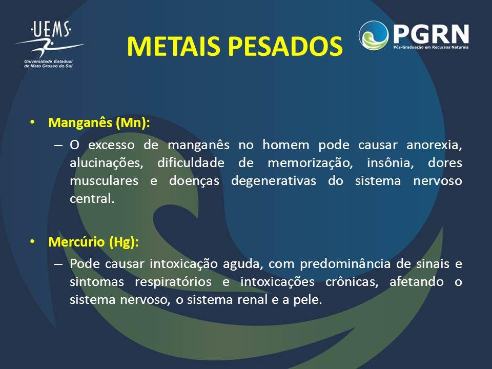 METAIS PESADOS Zinco (Zn): – Entre os micronutrientes, é um dos de maior importância para o metabolismo humano, pois participa de vários processos fisiológicos.