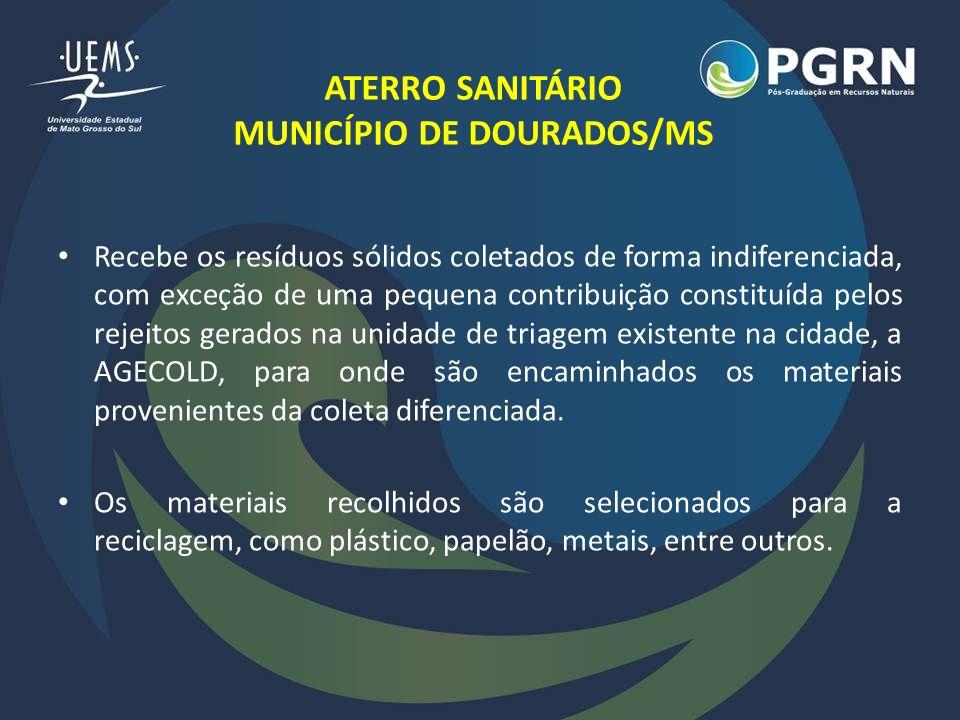 ATERRO SANITÁRIO MUNICÍPIO DE DOURADOS/MS Coleta seletiva (Dourados/MS): – 2007: apenas 2 bairros; – Atualmente: 14 bairros.