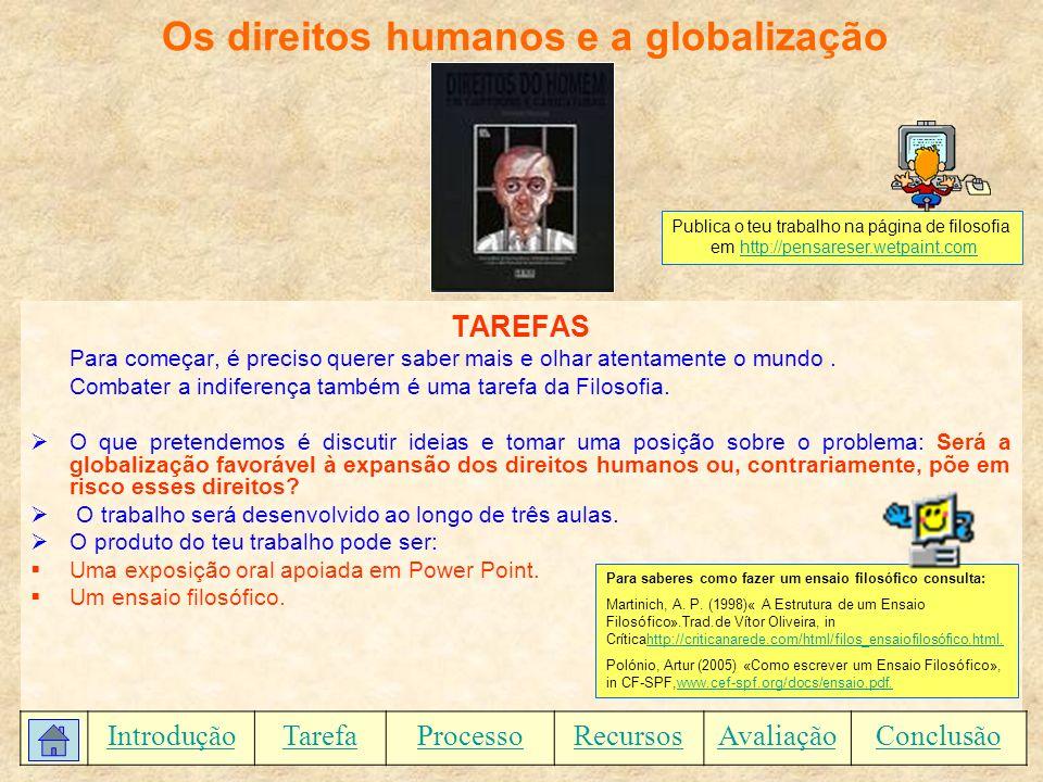 Os direitos humanos e a globalização PROCESSO Realiza uma pesquisa cuidada.
