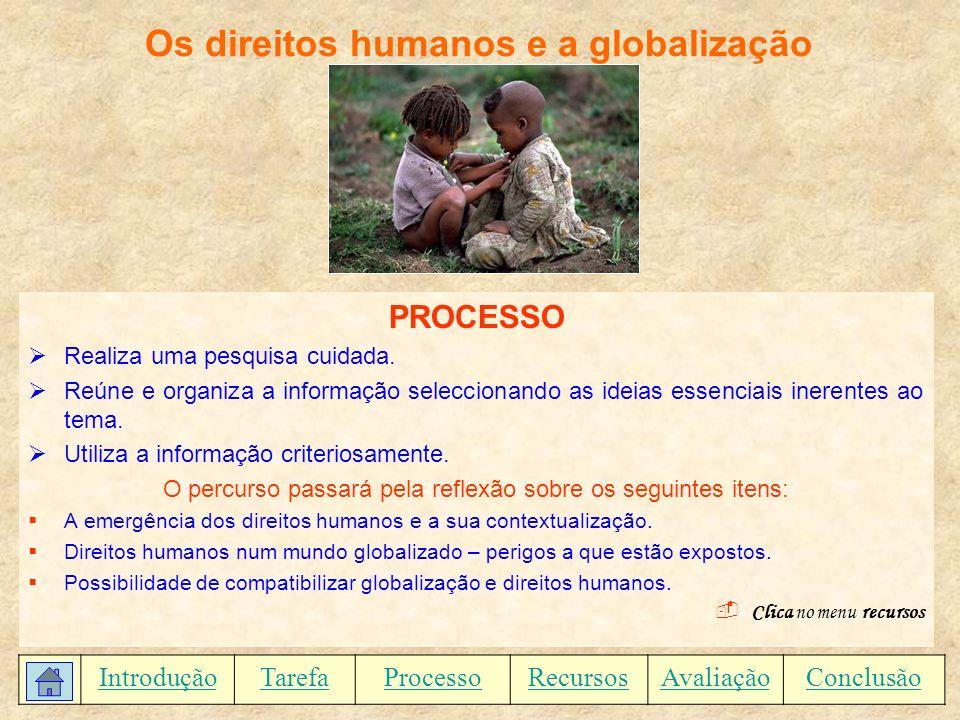 Os direitos humanos e a globalização RECURSOS WWW.angelfire.com/sk/holgonsi/lucianoribas.html Texto de Luciano do Monte Ribas, Identidade, Globalização e Direitos Humanos.