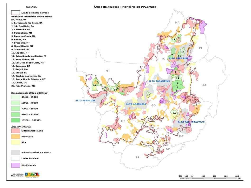 16 Municípios que mais desmataram no período 2002-2008: 18% do total de 85.075 km² 1.Formosa do Rio Preto (BA) 2.São Desidério (BA) 3.Correntina (BA) 4.Paranatinga (BA) 5.Barra do Corda (MA) 6.Balsas (MA) 7.Brasnorte (MT) 8.Nova Ubiratã (MT) 9.Jaborandi (BA) 10.Sapezal (MT) 11.Baixa Grande do Ribeirão (PI) 12.Nova Mutum (MT) 13.São José do Rio Claro (MT) 14.