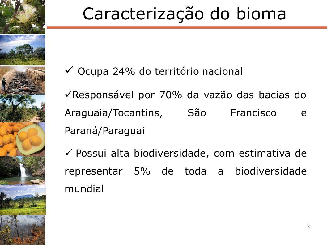 3 Áreas Protegidas Percentual total de Ucs no Bioma: 8,2% 2,8%= Proteção Integral 5,4%= Uso Sustentável 5,2% = APAs 3% = UCs Federais 5,2% = UCs Estaduais 4,4% de Terras Indígenas Reserva Legal= 20% (35% no Cerrado da Amazônia Legal)