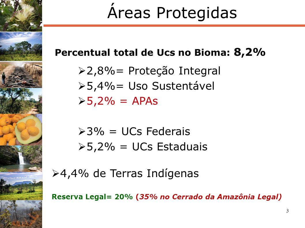 4 Desmatamento Fonte: Projeto de Monitoramento do desmatamento dos Biomas brasileiros por satélite (SBF/MMA e CSR/IBAMA) Desmatamento acumulado até 2008 = 47,84% da área Área remanescente