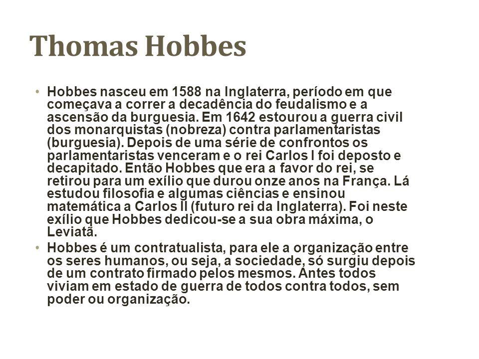 Principais obras deThomas Hobbes Elementos da lei natural e política (1640), Sobre o cidadão – De cive (1642), Leviatã ou matéria, forma e poder de um Estado eclesiástico e civil (1651).