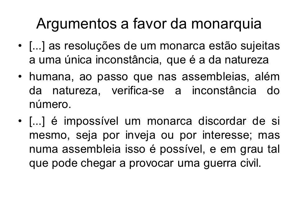 Argumentos a favor da monarquia [...] se surgir qualquer disputa que venha perturbar a tranquilidade pública, ela não deve ser atribuída à forma da monarquia, mas à ambição dos súditos, e à ignorância de seu dever.