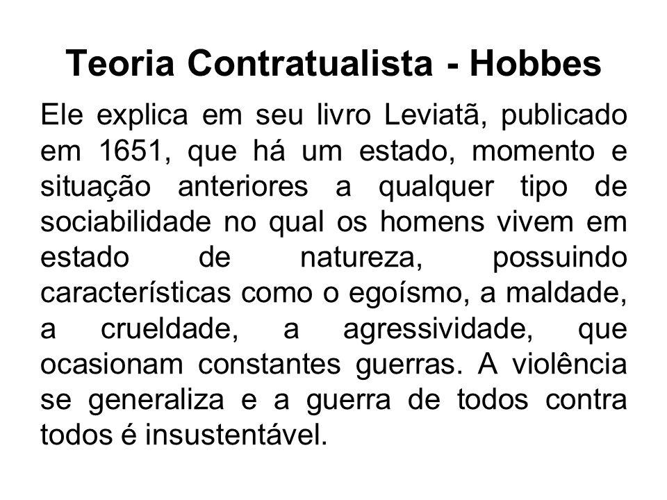 Teoria Contratualista - Hobbes Diante desse quadro, a vontade e a racionalidade humana atuam no sentido de firmar um pacto com objetivo de minorar e, diminuir a tensão do estado de natureza, dando espaço e vida ao estado social.