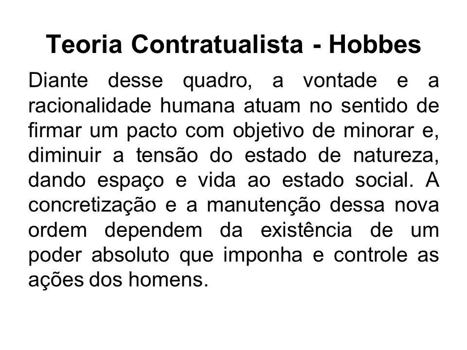 Teoria Contratualista - Hobbes Esse poder é o Estado que, dotado de força, tem a prerrogativa de limitar as vontades particulares.