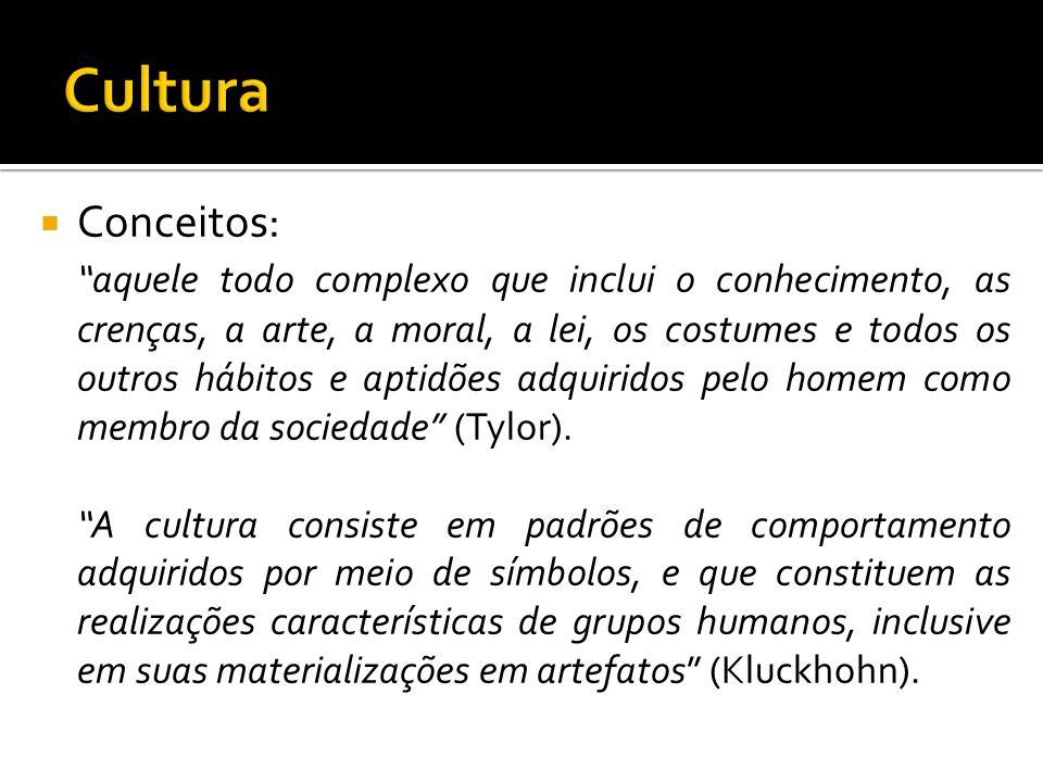 Cultura: Também chamada de herança social Conjunto de símbolos e costumes de um povo, aprendidos com a convivência; Tudo aquilo que é humano, mas não é biológico; Linguagem Expressão e difusão cultural.