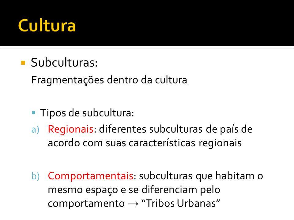 Processos Culturais: Aculturação: Total assimilação de elementos de uma cultura por outra, inviabilizando a existência da primeira Transculturação: Troca de elementos culturais entre duas ou mais culturas gerando um novo fenômeno cultural