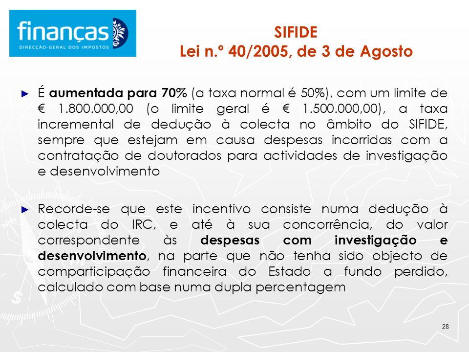 29 RFAI Lei n.º 10/2009, de 10 de Março Mantém-se em vigor durante o ano de 2010, o Regime Fiscal de Apoio ao Investimento, aprovado no âmbito da Iniciativa para o Investimento e o Emprego pela Lei nº 10/2009, de 10/3 Este incentivo é aplicável aos sujeitos passivos de IRC que exerçam, a título principal, uma actividade em certos sectores de actividade e consiste, em IRC, numa dedução à colecta, até ao limite de 25% da mesma, de: 20% do investimento relevante, até ao montante de investimento de 5M 10% do investimento relevante, relativamente ao investimento que exceda 5M