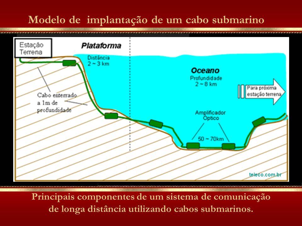 Principais componentes de um sistema de comunicação de longa distância utilizando cabos submarinos.
