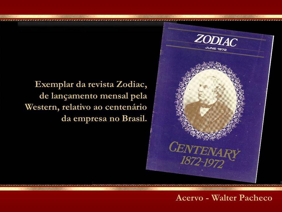 Exemplar da revista Zodiac, de lançamento mensal pela Western, relativo ao centenário da empresa no Brasil.