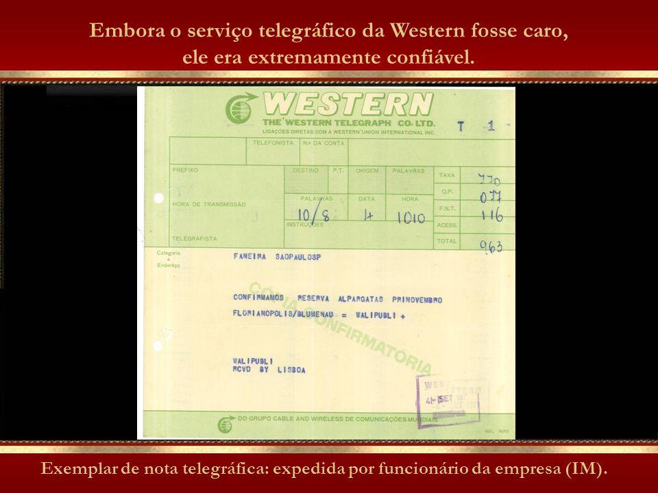 Exemplar de nota telegráfica: expedida por funcionário da empresa (IM).