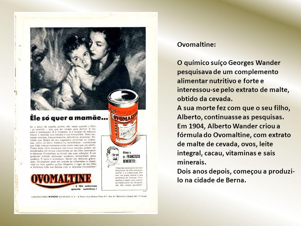 Ovomaltine: O químico suíço Georges Wander pesquisava de um complemento alimentar nutritivo e forte e interessou-se pelo extrato de malte, obtido da cevada.