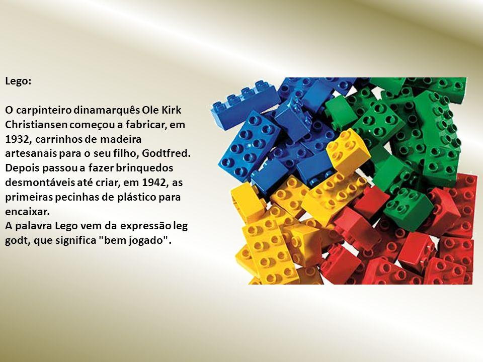 Lego: O carpinteiro dinamarquês Ole Kirk Christiansen começou a fabricar, em 1932, carrinhos de madeira artesanais para o seu filho, Godtfred.