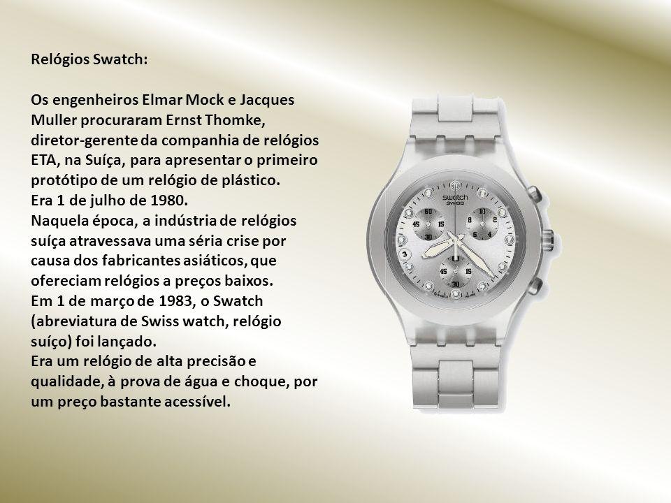Relógios Swatch: Os engenheiros Elmar Mock e Jacques Muller procuraram Ernst Thomke, diretor-gerente da companhia de relógios ETA, na Suíça, para apresentar o primeiro protótipo de um relógio de plástico.