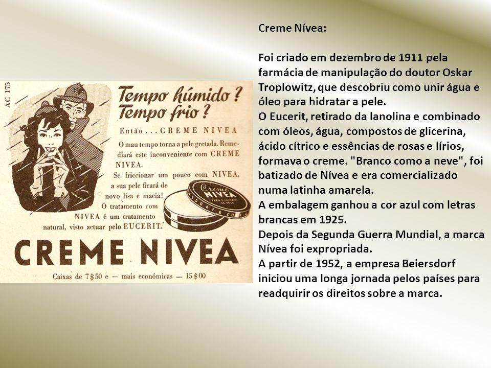 Creme Nívea: Foi criado em dezembro de 1911 pela farmácia de manipulação do doutor Oskar Troplowitz, que descobriu como unir água e óleo para hidratar a pele.