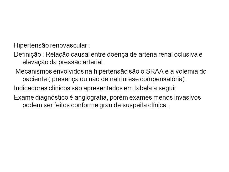 Conforme os indicadores acima, recomenda-se solicitar os exames enumerados a seguir: (Diretrizes da AHA e da CMA, NEJM, 2001) (IV Diretrizes Brasileiras de Hipertensão, 2003, sbn.org.br)