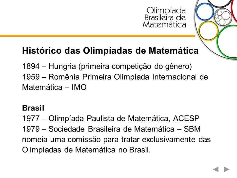 Olimpíadas de Matemática no Brasil A Olimpíada Brasileira de Matemática – OBM tem uma participação anual de mais de 5,3 mil escolas da rede pública e privada de ensino e 155 instituições de ensino superior, o que implica a participação efetiva de mais de 190 mil jovens estudantes e seus professores.