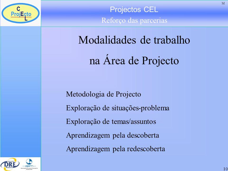 Projectos CEL Reforço das parcerias 11 Dinâmicas de aprendizagem na Área de Projecto Identificar problemas Cooperação Confronto da teoria com a prática Integração de saberes Experimentação Explorar as potencialidades das tecnologias da informação e da comunicação.