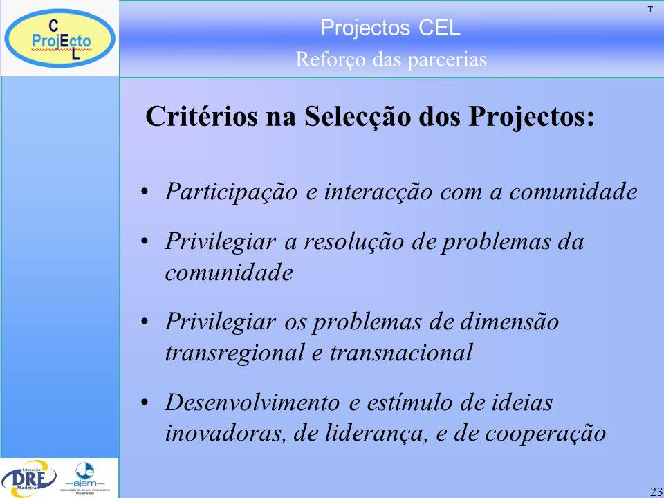 Projectos CEL Reforço das parcerias 24 Ideias/produtos transformáveis em negócios Sectores que reforcem os sectores tradicionais da Madeira: Turismo, Artesanato, Comércio, Serviços.
