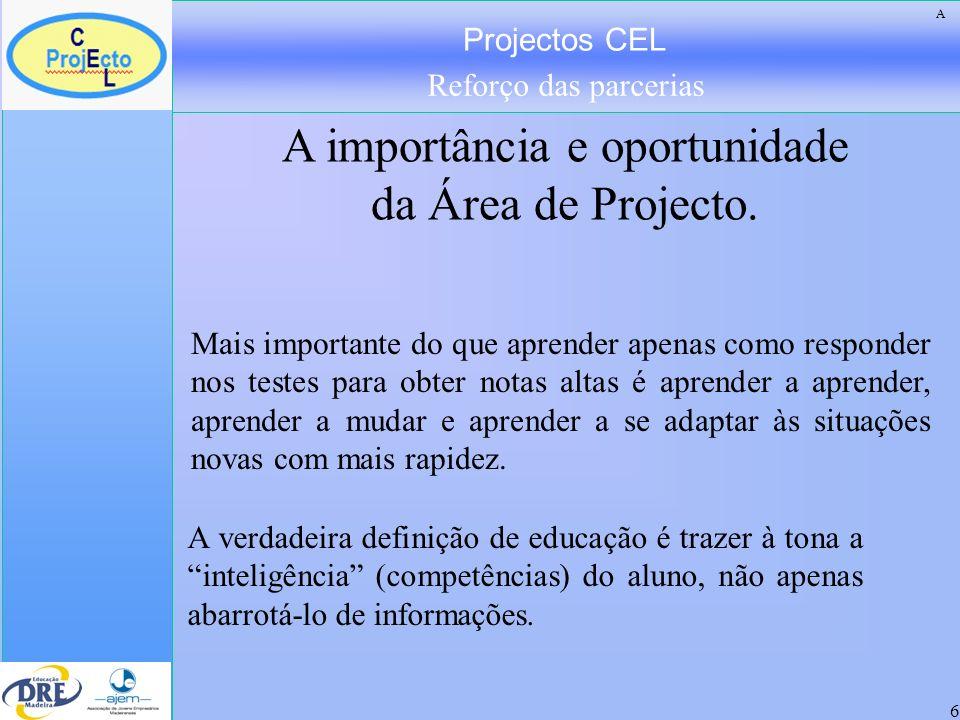 Projectos CEL Reforço das parcerias 7 Os jovens notam que os melhores sucessos profissionais já não vão para os que tiveram melhores resultados académicos.