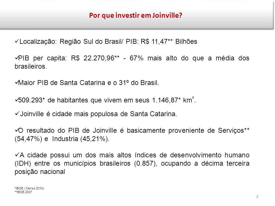 Informações Gerais de Joinville A cidade é cortada pela BR-101 e possui um dos principais aeroportos do sul do Brasil.