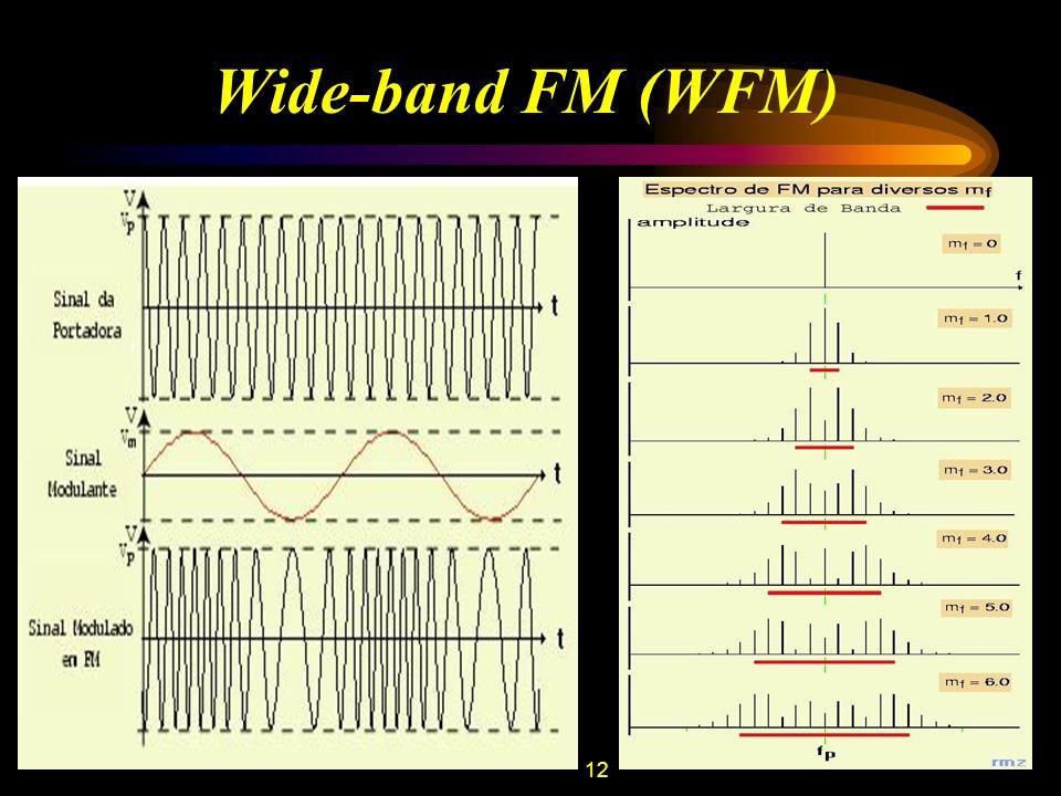 13 Transmissão de Televisão CanalFaixa de Freqüência (MHz) 254-60 360-66 466-72 576-82 682-88 7174-180 8180-186 9186-192 10192-198 11198-204 12204-210 13210-216 Envia simultaneamente os sinais de áudio (FM) e vídeo (AM); Largura de banda de 6 MHz; Para impedir interferência a portadora de áudio e de vídeo estão separadas de 4.5 MHz; Pelo mesmo motivo, as portadoras de luminância (informação referente ao brilho e contraste) e crominância (informação referente à cor) estão separadas de 3.58 MHZ.