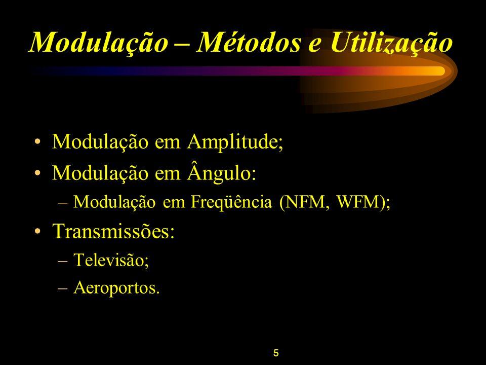 6 Modulação em Amplitude (AM) Definição: V p – amplitude da tensão do sinal da portadora; f p – freqüência do sinal da portadora; V m (t) – tensão do sinal modulante.