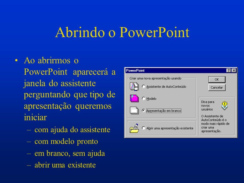 Escolhendo o Layout Se optarmos por uma apresentação em branco, clicarmos no ícone Layout do slide ou em novo slide aparecerá a janela para escolhermos o novo tipo de slides para apresentação