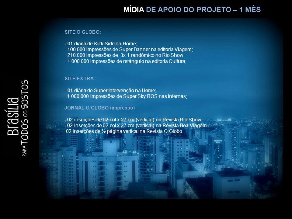 MÍDIA LIVRE – 1 MÊS SITE O GLOBO: - 100.000 impressões de Retângulo na editoria Viagem; - 02 diárias de Retângulo 01 na Home, com vídeo; - 582.800 impressões de Retângulo no Rio Show SITE EXTRA: - 500.000 impressões de DHTML ROS nas internas; - 400.000 impressões de Retângulo ROS nas internas; JORNAL O GLOBO ( impresso): -02 inserções em página inteira a definir Revista Rio Show; -02 inserções em página inteira a definir Revista Boa Viagem.