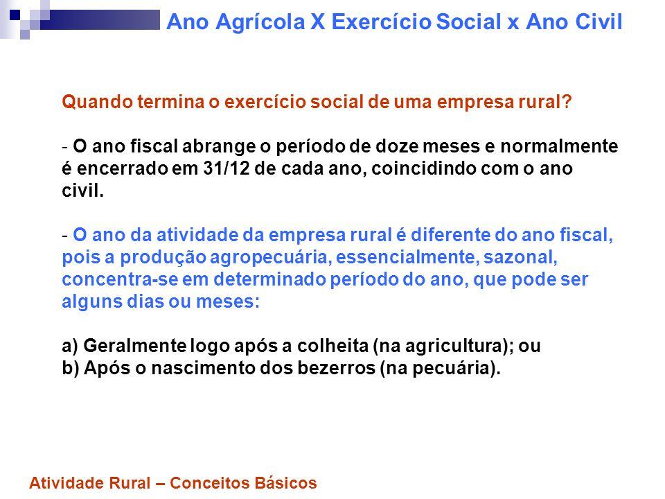 Ano Agrícola X Exercício Social x Ano Civil a)Na Atividade Agrícola: O ano agrícola é o período em que se planta, colhe e se comercializa a safra.