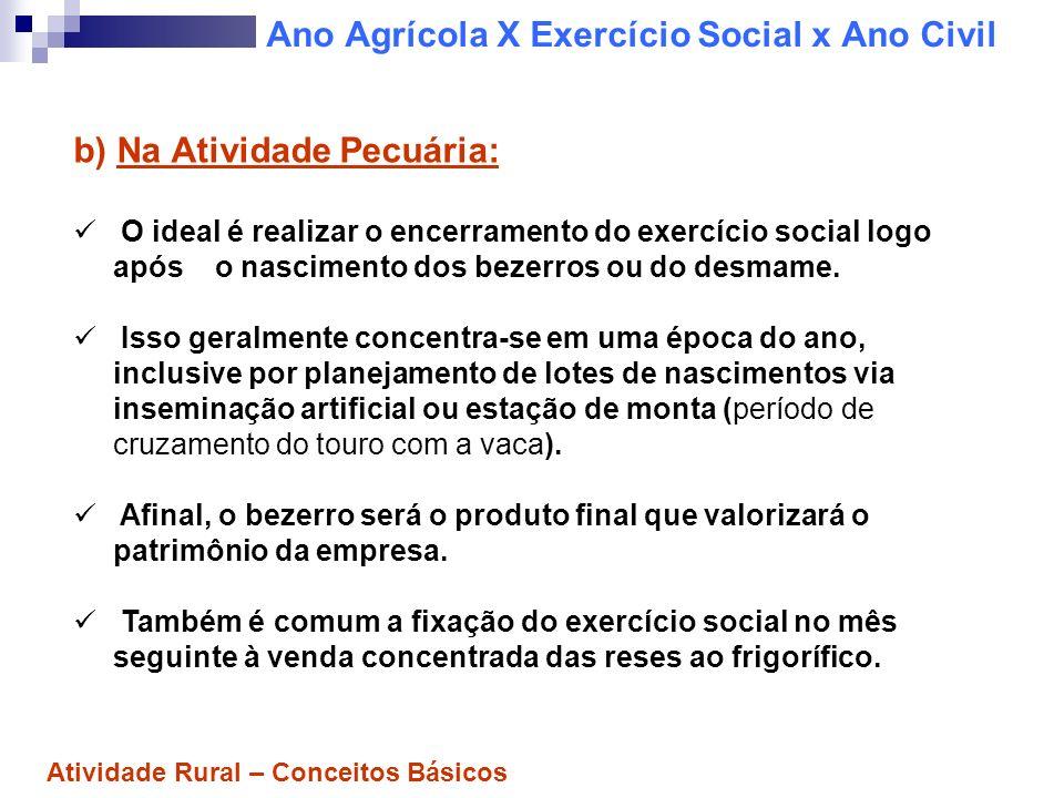 Ano Agrícola X Exercício Social x Ano Civil ATENÇÃO: Para efeito de gerenciamento, a observância do ano agrícola como exercício social da empresa rural será de extrema relevância.