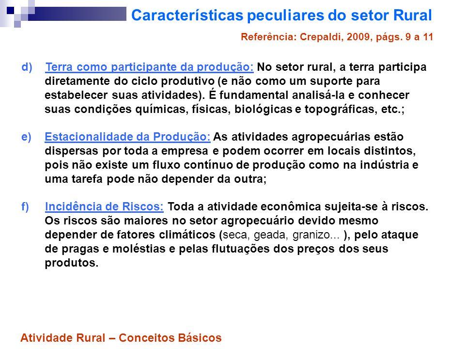 Características peculiares do setor Rural g) Sistema de competição econômica: Devido ao grande nº.