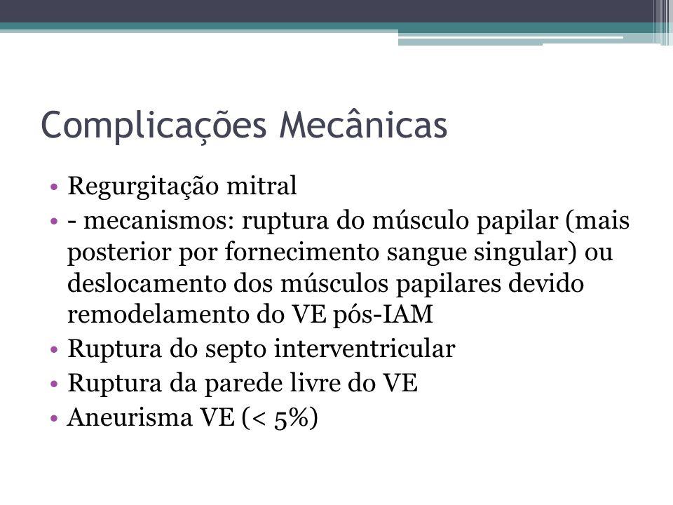Complicações Elétricas Arritmias ventriculares [TV/FV] (são comuns e muitas vezes não requerem intervenção) - mecanismos: multifatorial, incluem isquemia permanente, distúrbios eletrolíticos, reentrada e automaticidade aumentada CDI (classe I): antes da descarga, em pacientes que desenvolvem TV / FV sustentada com mais de 48 horas depois do IAM, desde que a arritmia não é devido a isquemia transitória ou reversível, reinfarto, ou anormalidades metabólicas