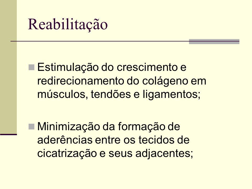 Reabilitação Manutenção ou desenvolvimento da propriocepção articular; Manutenção da nutrição da cartilagem através do movimento.
