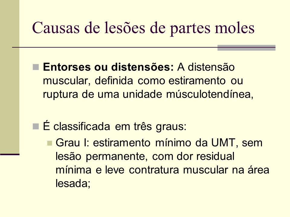 Causas de lesões de partes moles Grau II: ruptura parcial da UMT, com dor residual ao longo do músculo afetado agora contraturado e apresentando às vezes uma equimose local; Grau III: ruptura complete da UMT, com incapacidade funcional imediata e persistente e acentuação das características dos graus I e II.