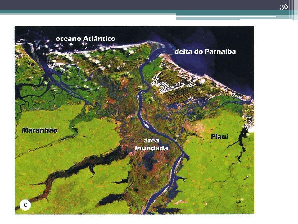 Inundação Interpretação de imagens de sensores remotos permite mapear áreas atingidas Em virtude da frequência da cobertura de nuvens – uso de imagens de radar Imagens, dados de chuva e vazão de rios podem ser integradas em um SIG para elaborar mapa de risco de inundação.