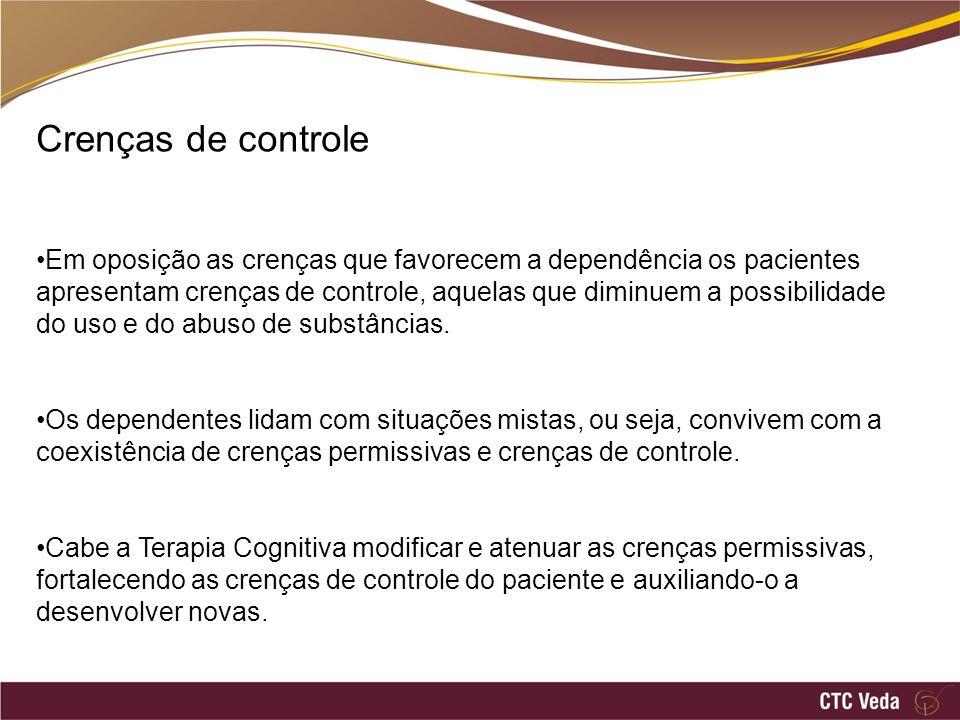 Crenças Permissivas (uso) Crenças de Controle (abstinência) x