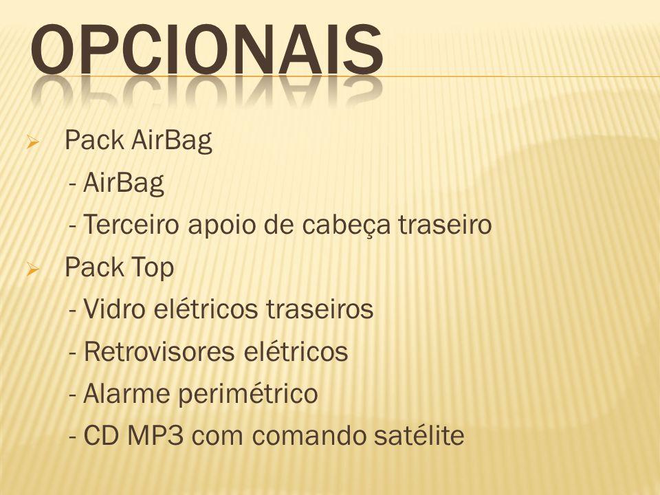 Pack Top + Couro - Vidros traseiros elétricos - Retrovisores elétricos - Alarme perimétrico - CD MP3 com comando satélite - Bancos de couro - Puxadores das portas dianteiras com acabamento Sport