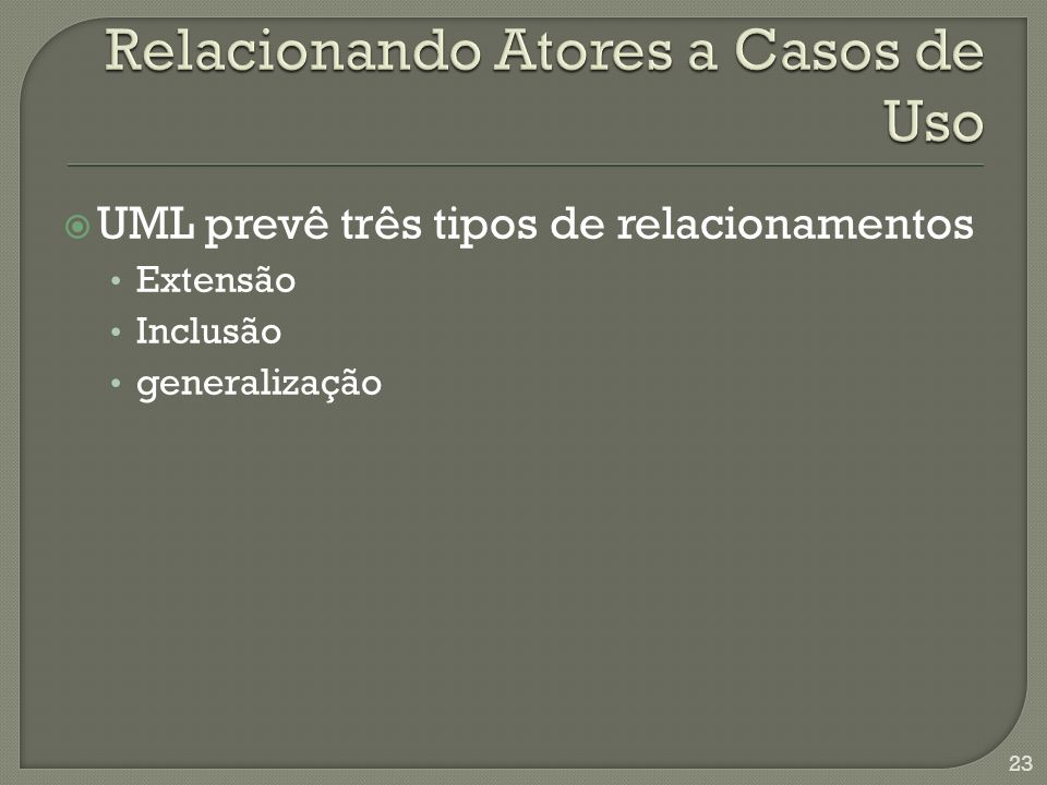 Estabelece uma relação em que um dos casos de uso ou atores tem seu comportamento estendido através do comportamento definido em outro caso de uso.