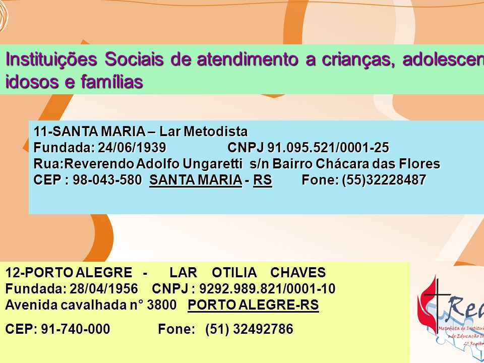 14- SANTO ANGELO - LAR DA VELHICE SUSANA WESLEY Fundada:16/07/1967 CNPJ:88.875.323/0001-70 Rua: Sete de Setembro n°180-A Bairro: Centro SANTO ANGELO - RS CEP: 98-801-680 Fone:(55)33125030 5-VIAMÃO - CASA SUSANA WESLEY DA IGREJA METODISTA Fundada: 22/05/1994 CNPJ :01.769.877/0001-04 Rua Pastoral n° 407 Vila São Lucas VIAMÃO - RS CEP 94450-280 Fone:(51) 34462470