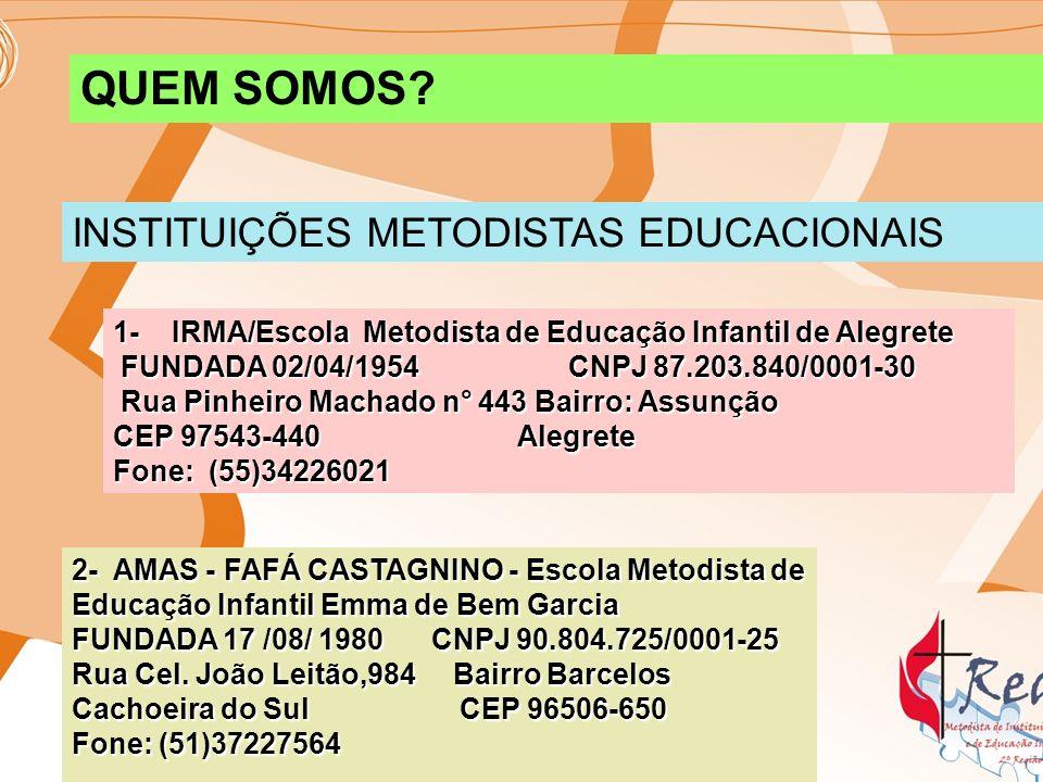 3-SOMAIC-CEI/Centro de Educação Infantil Fundada: 14/08/1960 CNPJ 87.446.571/0001-32 Rua Carlos Barbosa, n° 103 Bairro Centro CARAZINHO – RS CEP 99500-000 Fone:(55)33309673 CEP 99500-000 Fone:(55)33309673 4- BERÇO DO BEBÊ Fundada:02/12/1973 CNPJ 90.782.095/0001-35 Rua Silveira Martins,34 Bairro São José PASSO FUNDO - RS CEP 99-052-390 Fone: (54)33113065 PASSO FUNDO - RS CEP 99-052-390 Fone: (54)33113065 5- CEAMES - Centro Educacional Assistencial Metodista Edith Schisler Fundada: 15/06/70 CNPJ90.169.541/0001-30 Rua Inalda Tossen Bonifácio,95 Bairro Santa Marta PASSO FUNDO –RS CEP: 99-036-350 Fone: (54)33142799